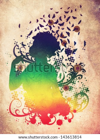 Abstract colorful illustration of a female profile with butterflies.