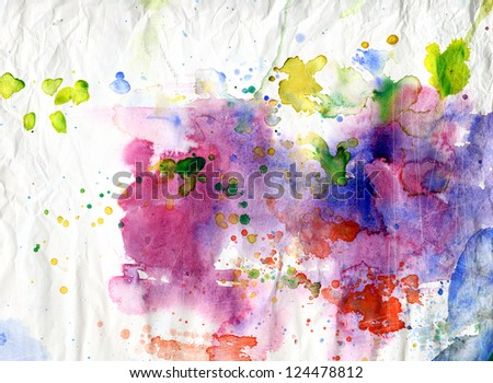 Abstract colorful ink blobs on old paper background