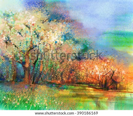 Abstract colorful landscape painting. Oil painting mix watercolor technique on paper. Semi- abstract image of tree and field in yellow and red with blue sky. Spring season nature background