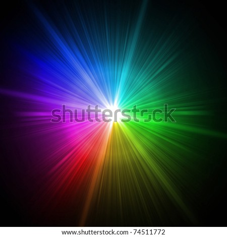 Abstract colorful lens flare light over blue background
