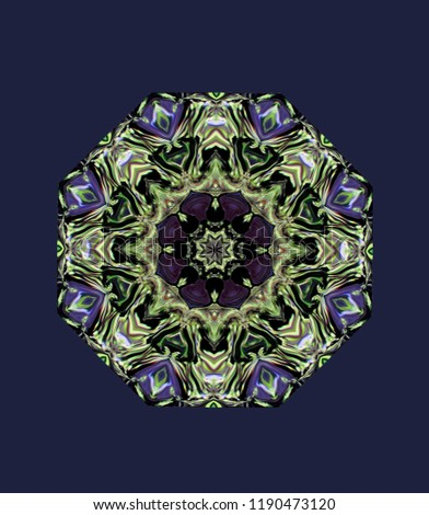 Abstract colorful octagonal knot. the figure of the modified image of the plant with dark leaves. Eight-sided ornament in the natural colors of the plant with dark leaves on a cobalt blue background.