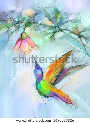 Abstract colorful oil, acrylic painting of bird (Hummingbird) and spring flower. Modern art paintings brush stroke on canvas. Illustration oil painting, animal and floral for background.