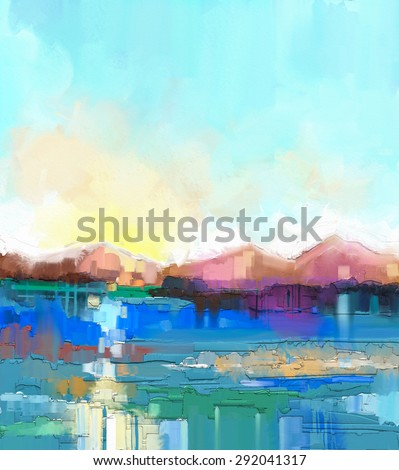 Abstract colorful oil painting landscape on canvas. Semi- abstract image of hill and field in yellow and green with blue sky. Spring season nature background