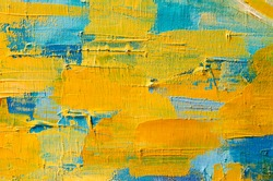 Abstract colorful oil painting on canvas. Oil paint texture with brush and palette knife strokes. Multi colored wallpaper. Macro close up acrylic background. Modern art concept. Horizontal fragment.