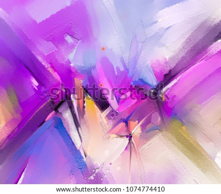 Abstract colorful oil painting on canvas texture. Hand drawn brush stroke, oil color paintings background. Modern art oil paintings with purple, red color. Abstract contemporary art for background