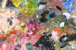 Abstract colorful oil painting strokes. Colorful pink and black brushstroke background. Mixed oil paint texture