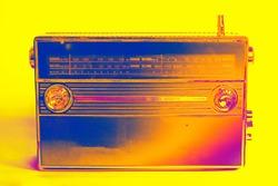 Abstract colorful old radio. Radio antenna. Broadcast object. Minimalism background. Radio broadcasting. Musical record. Retro music.