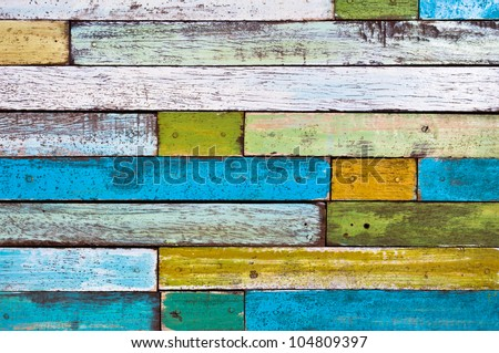 Abstract colorful painted wood wall