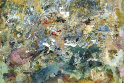 Abstract colorful painting palette. Bright abstract painting similar to a child's drawing traces of paint and blotches scratched surface. Macro oil thick paint vintage art wallpaper.