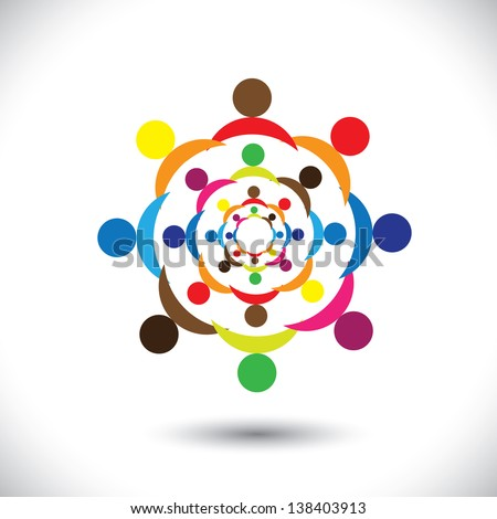Abstract colorful people signs in circles. This icon illustration can also represent concept of children playing together or friendship or team building or group activity,etc