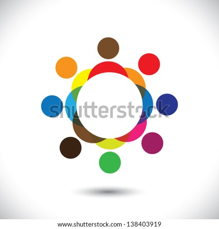 Abstract colorful people symbols in circle. This icon illustration can also represent concept of children playing together or friendship or team building or group activity,etc