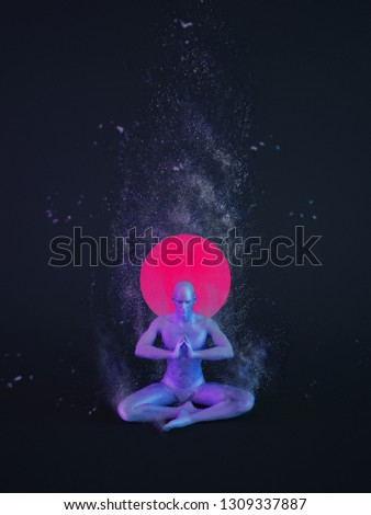 Abstract colorful plastic human body with scattering particles over black background. Yoga easy pose, decent pose, or pleasant pose  — Sukhasana. 3D rendering illustration