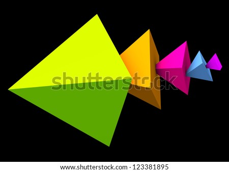 Abstract colorful pyramids on the black background.
