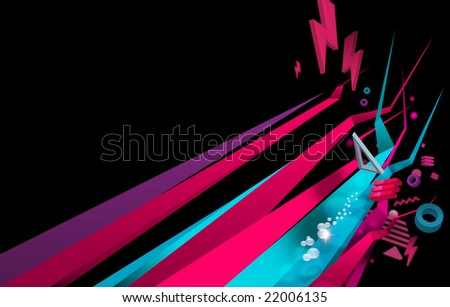 abstract colorful shapes on black background