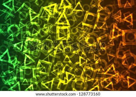 Abstract Colorful Signs Bokeh Background