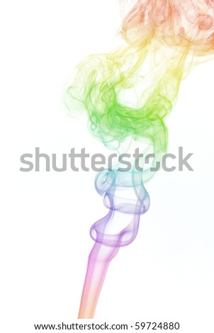 abstract colorful smoke isolated on white background