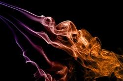 Abstract colorful smoke on black background, smoke background,colorful ink background,Violet,purple, Orange, beautiful smoke