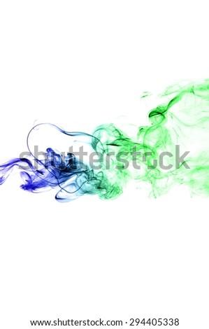 Abstract colorful smoke on white background, smoke background,colorful ink background,Blue and Green smoke, beautiful smoke #294405338