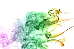 Abstract colorful smoke on white background, smoke background,colorful ink background,Violet, Green, Orange