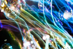 Abstract colorful soap bubbles and lighting, Abstract background