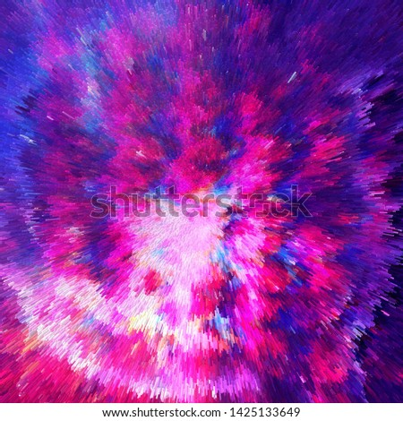 Abstract colorful space background. Bright color pink and blue neon with elements of space and galaxies. Space background and texture. Nebula in space. Modern digital art. Multicolor background.