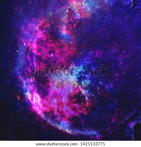 Abstract colorful space background. Stars of a planet and galaxy in outer space in a neon pink color. Space background and texture. Nebula in space. Modern digital art. Multicolor background.