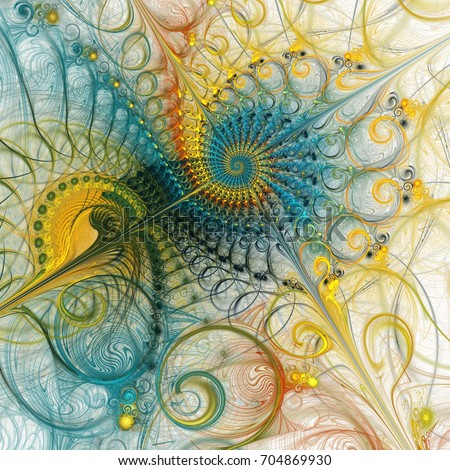 Stock Photo Abstract colorful spiral composition with teal and yellow curls. Fantasy fractal design. Psychedelic digital art. 3D rendering.