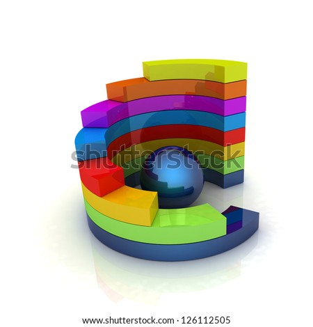 Abstract colorful structure with blue bal in the center