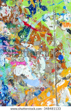 abstract colorful texture background splash acrylic color on wood