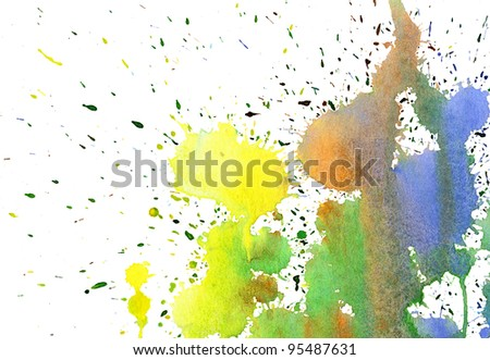 Abstract colorful watercolor background on white