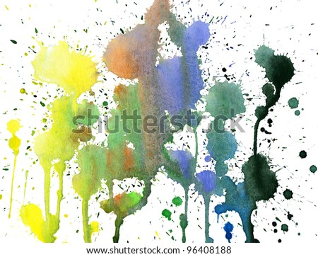 Abstract colorful watercolor hand painted background.