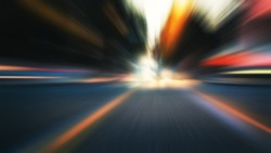 Abstract colorful zooming background. City and car moving lights