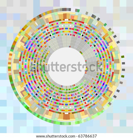 Abstract colour circle simulating the earth with constructions; - stock photo