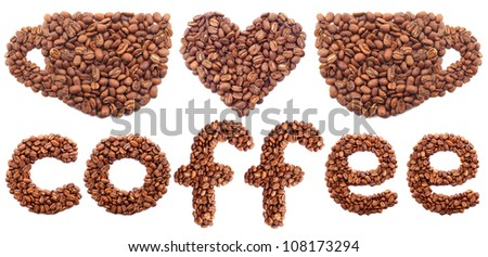 Abstract composition from coffee grains. Concept and idea