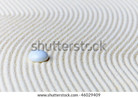 Abstract composition, glass drop on the sand - Zen Garden