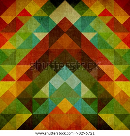 Abstract composition of colored triangle on vintage background