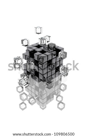 Abstract composition of dark and transparent cubes fitting together - stock photo