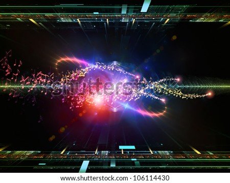 Abstract composition of fractal grids, lights  and musical notes suitable as design element in projects related to music and audio equipment