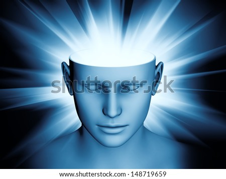 Abstract composition of human head and symbolic elements suitable as element in projects related to human mind, consciousness, imagination, science and creativity