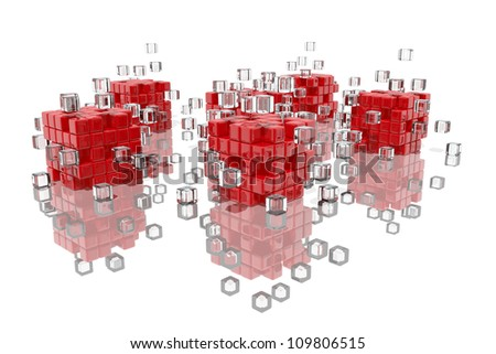 Abstract composition of red and transparent cubes fitting together
