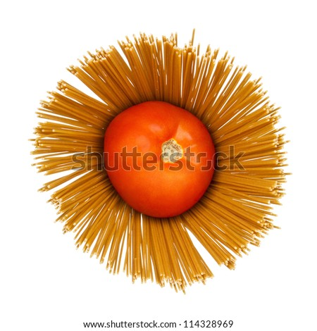 Abstract composition of tomato on dry angel hair spaghetti pasta on white background.