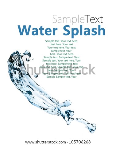 Abstract composition with beautiful blue splashing water with sample text