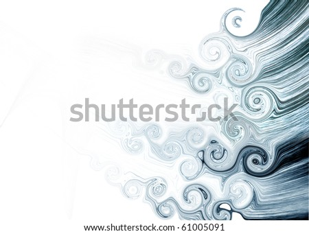 abstract composition with blue fibers and curls