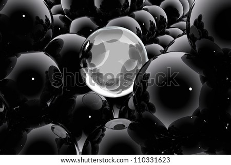 Abstract composition with spheres and bubbles