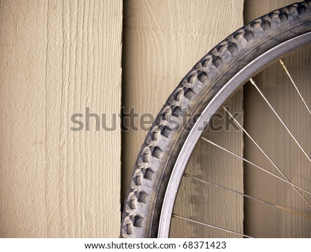 Abstract compostion of a used mountain bike wheel
