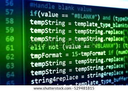 Abstract computer programming code script. Programming code abstract technology background of software developer and Computer script. Code text written and created entirely by myself. #529481815