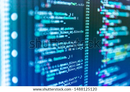 Abstract computer script about big data and blockchain database. HTML5 concept macro backdrop in warm colors. Shallow depth of field, selective focus effect. Blurred screen with selective focus #1488125120