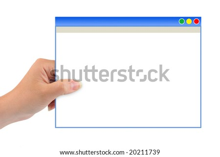 Abstract computer window in hand isolated on white background
