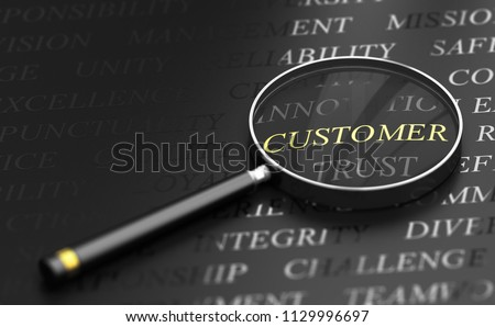 Abstract Concept. Black text with the word customer witten in golden letters and a magnifying glass. 3D illustration