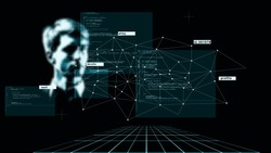 Abstract concept, digital identity, identification and scanning. Modern digital technologies, data collection and analysis